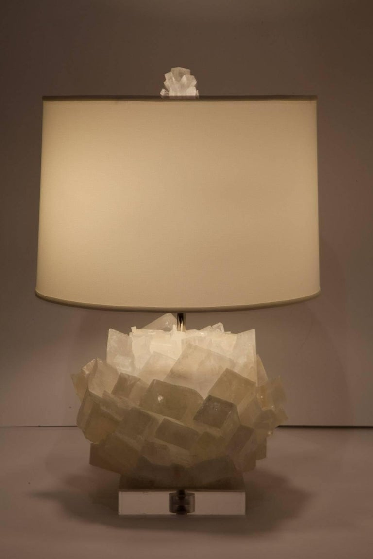 American Pair of Calcite Crystal Table Lamps by Kathryn McCoy For Sale