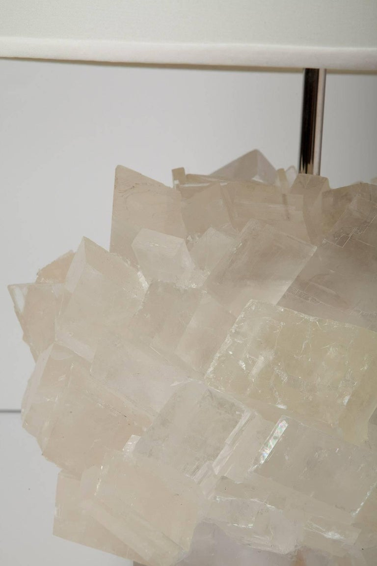 Contemporary Pair of Calcite Crystal Table Lamps by Kathryn McCoy For Sale