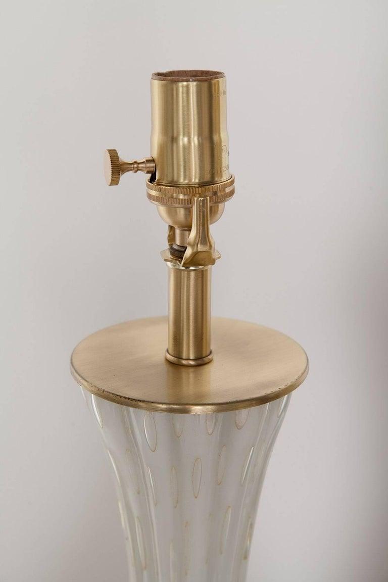 Fully Restored White Bullicante Murano Glass Lamps with Gold Leaf, circa 1960 3
