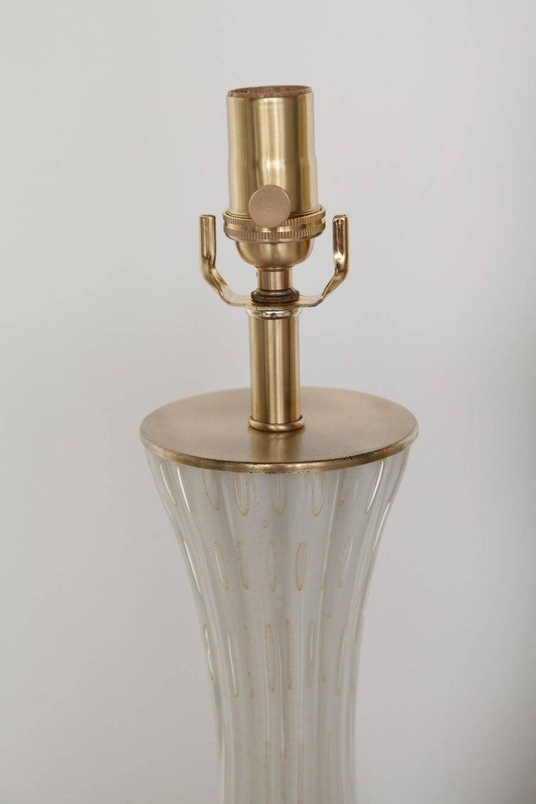 Fully Restored White Bullicante Murano Glass Lamps with Gold Leaf, circa 1960 6