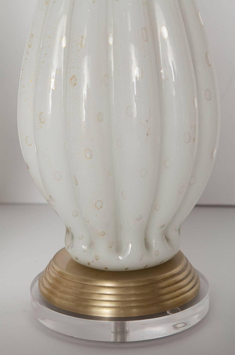 Fully Restored White Bullicante Murano Glass Lamps with Gold Leaf, circa 1960 For Sale 1