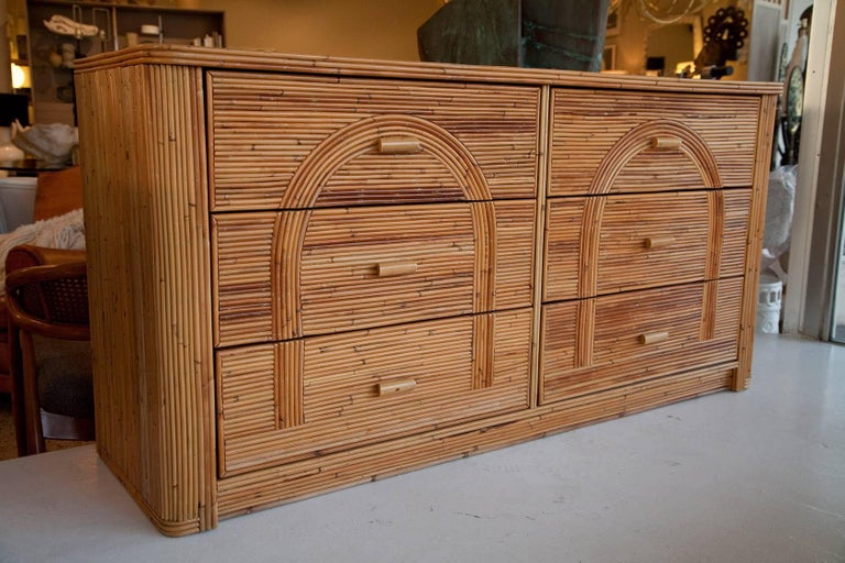 Vintage seaside-chic bamboo double dresser, circa 1970, equally at home in bedroom or living room.