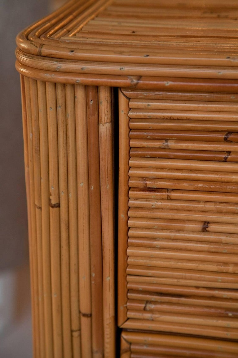 1970s Bamboo Double Dresser For Sale 1