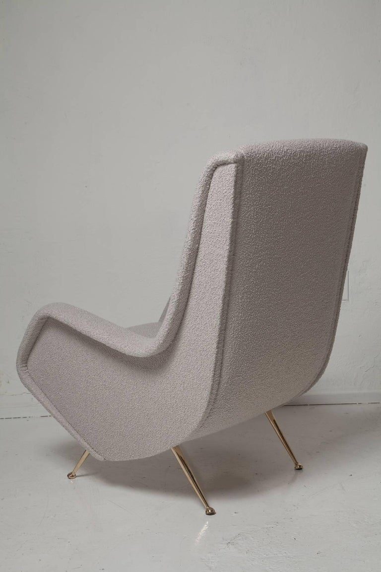 Mid-Century Modern Pair of Fully Restored 1950s Zanuso Style Italian Lounge Chairs in Mohair Boucle For Sale