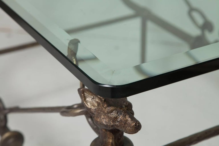 Beveled Coffee Table in the Manner of Giacometti For Sale