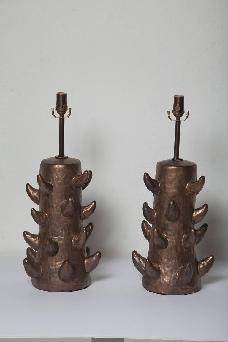 Bronze Glazed Stoneware Lamps Handmade by Priscilla Hollingsworth 2