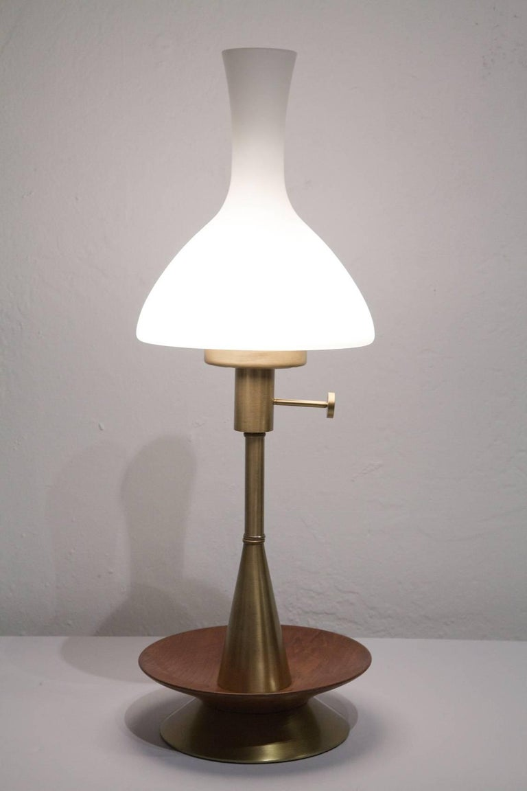 Mid-Century Modern Late 1950s Danish Modern Brass and Walnut Table Lamp with Frosted Glass Chimney For Sale