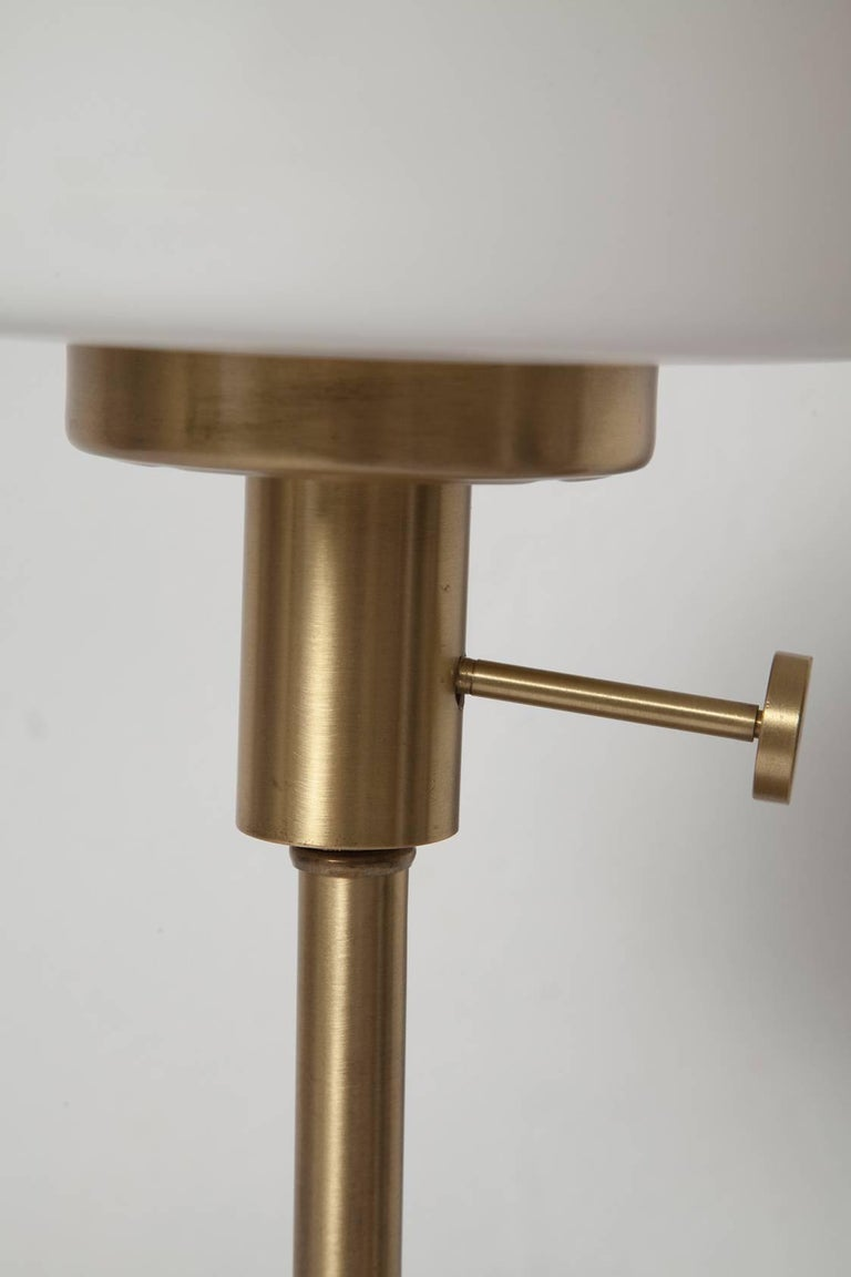 Brushed Late 1950s Danish Modern Brass and Walnut Table Lamp with Frosted Glass Chimney For Sale