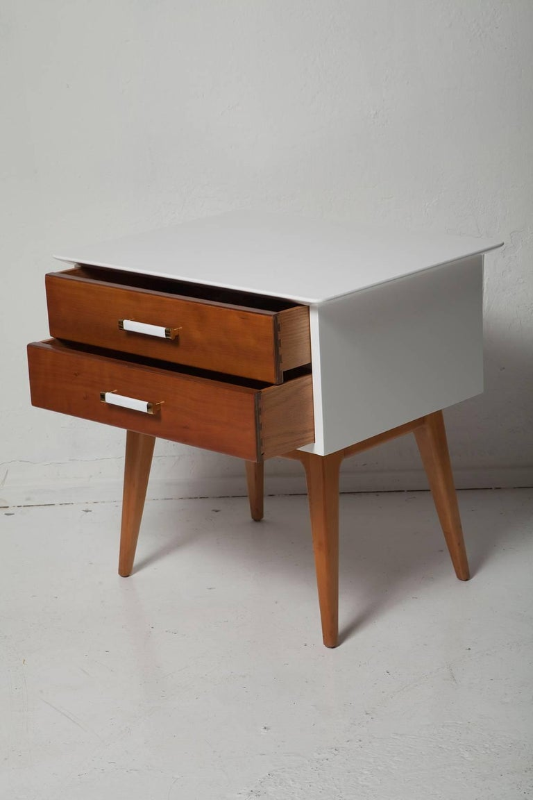 Painted Pair of 1950s Cherrywood Nightstands by Renzo Rutili for Johnson Brothers For Sale