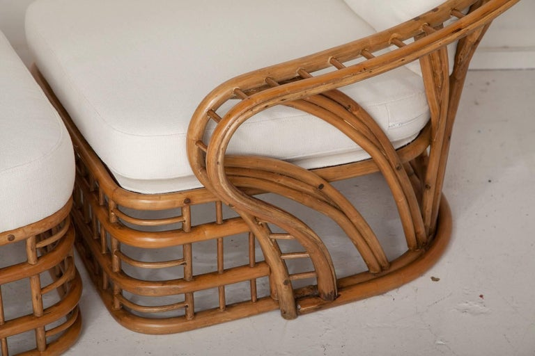 Fully Restored Bamboo Lounge Chair and Ottoman For Sale 2
