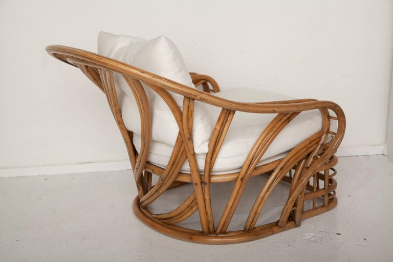 Fully Restored Bamboo Lounge Chair and Ottoman In Excellent Condition For Sale In North Miami, FL