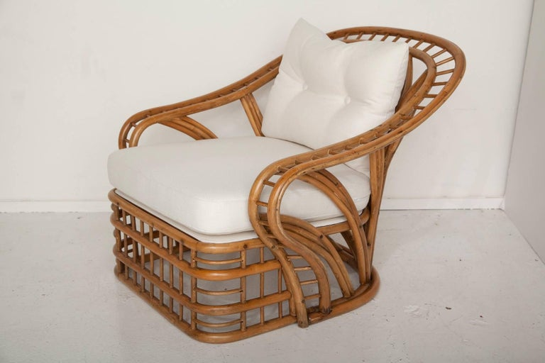 American Fully Restored Bamboo Lounge Chair and Ottoman For Sale