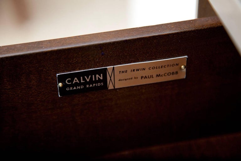 Custom Olive Mahogany and Brass Bachelor Chest by Paul McCobb for Calvin For Sale 1