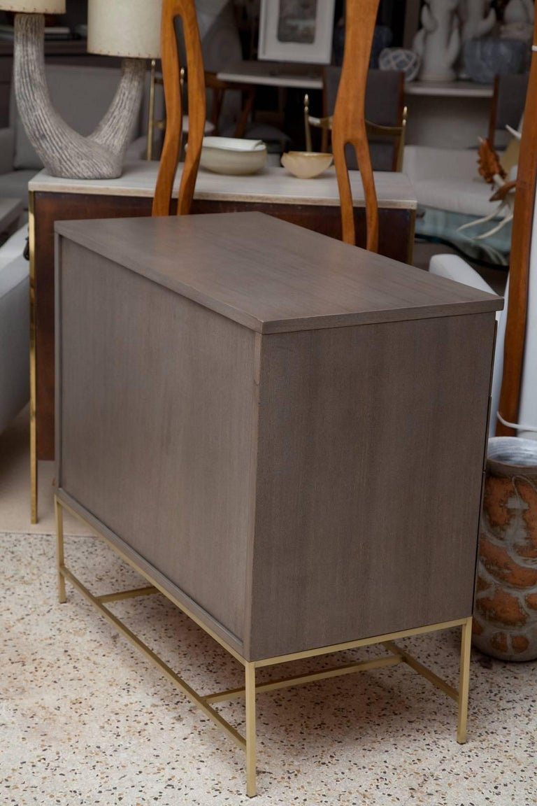 Mid-Century Modern Custom Olive Mahogany and Brass Bachelor Chest by Paul McCobb for Calvin For Sale