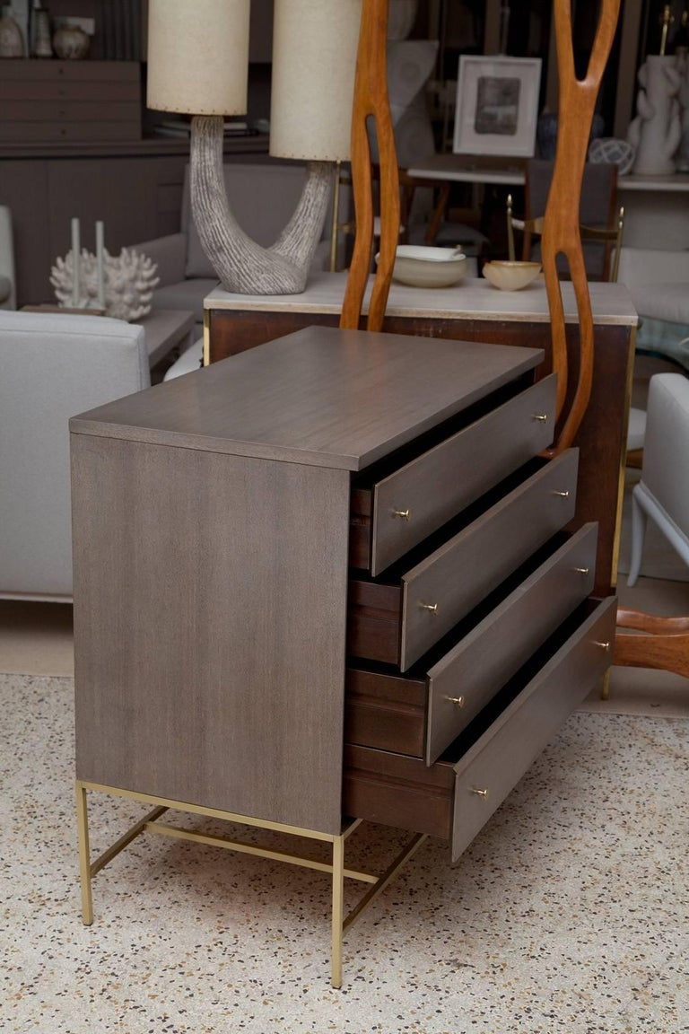 Brushed Custom Olive Mahogany and Brass Bachelor Chest by Paul McCobb for Calvin For Sale