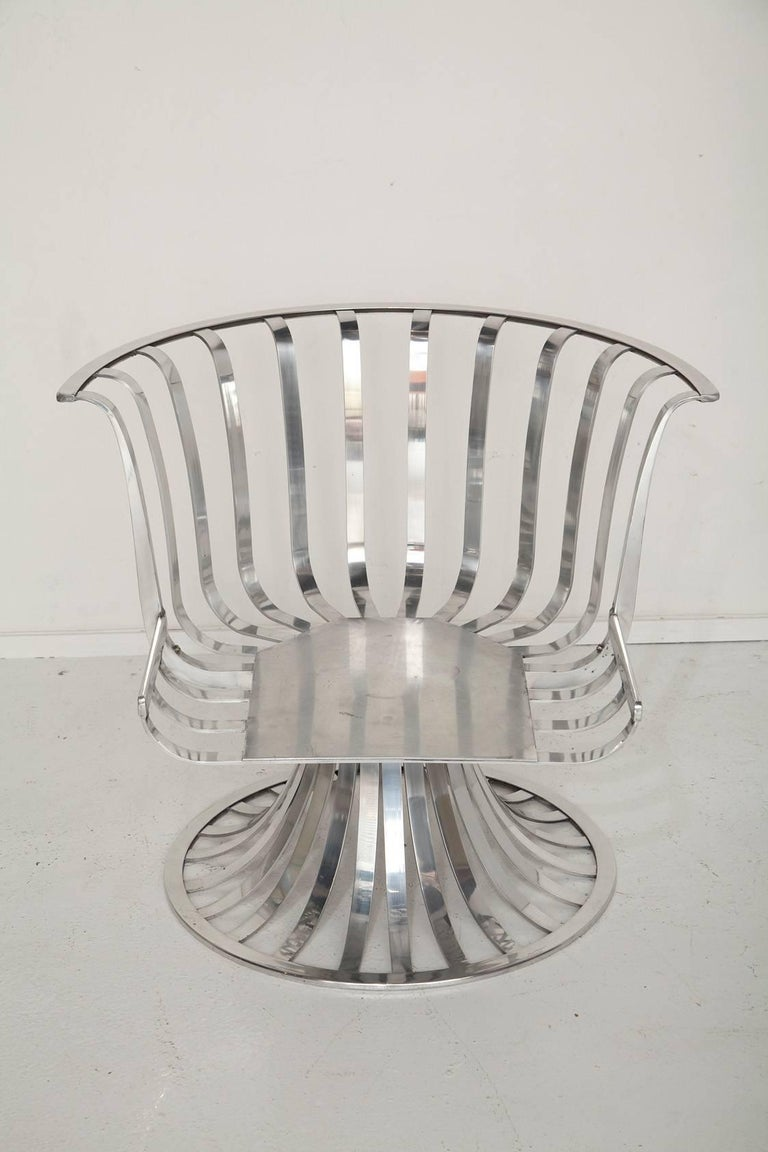 Pair of Polished Aluminum Armchairs by Russell Woodard, circa 1965 For Sale 2