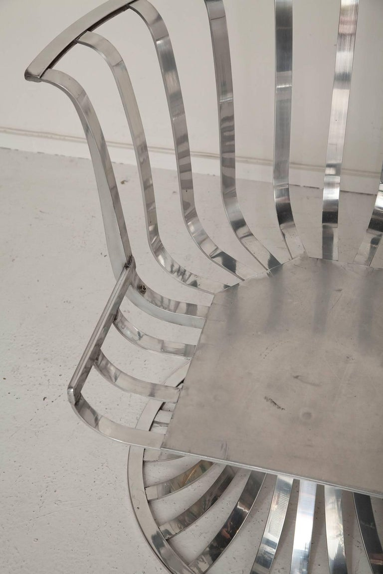 Pair of Polished Aluminum Armchairs by Russell Woodard, circa 1965 For Sale 3