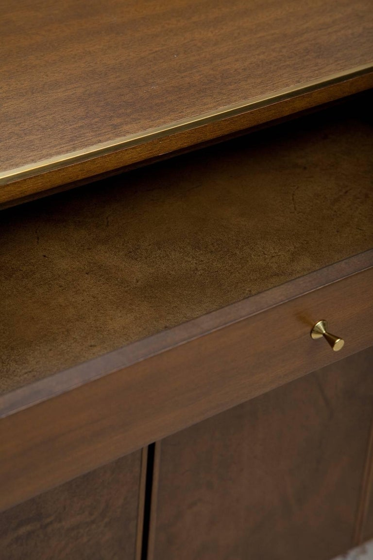 Brass Fully Restored Irwin Collection Mahogany and Leather Credenza by Paul McCobb  For Sale