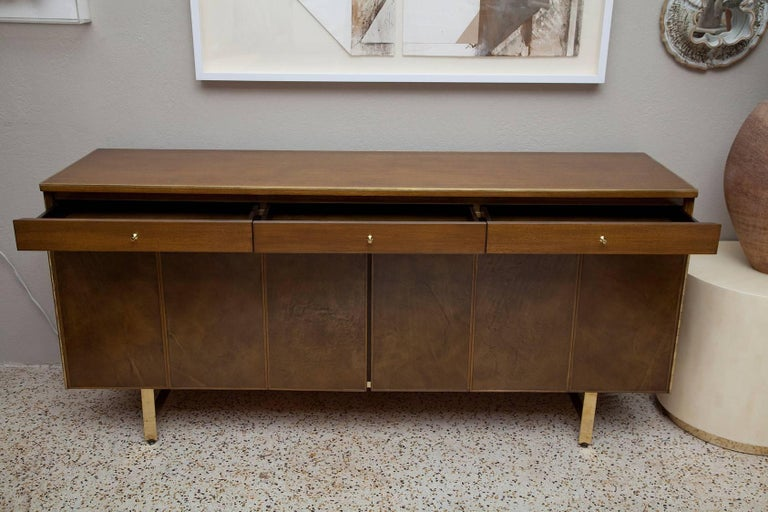 Mid-Century Modern Fully Restored Irwin Collection Mahogany and Leather Credenza by Paul McCobb  For Sale