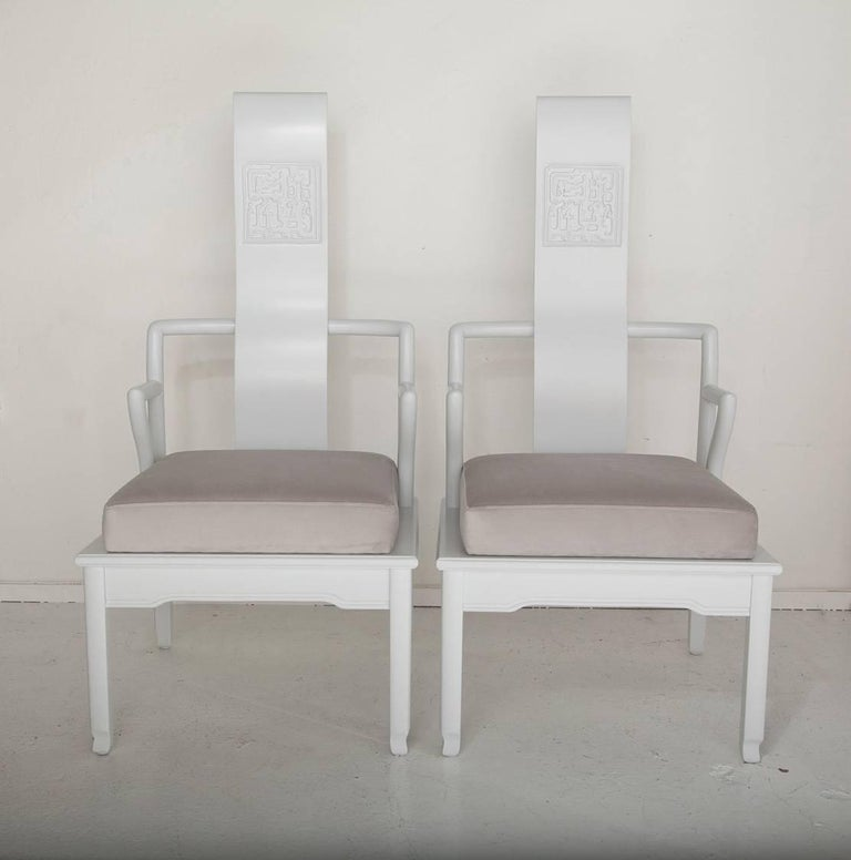 This fun pair of 1950s Asian inspired Mont style accent chairs are newly refinished in pale gray with pearl gray velvet upholstery.