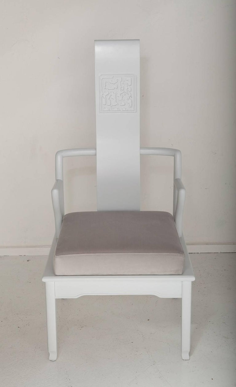 Mid-20th Century Pair of Low Asian Inspired Accent Chairs in the Manner of James Mont For Sale