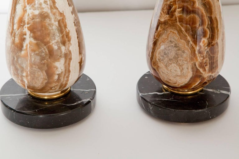 American Pair of Diminutive Onyx Table Lamps, circa 1950 For Sale