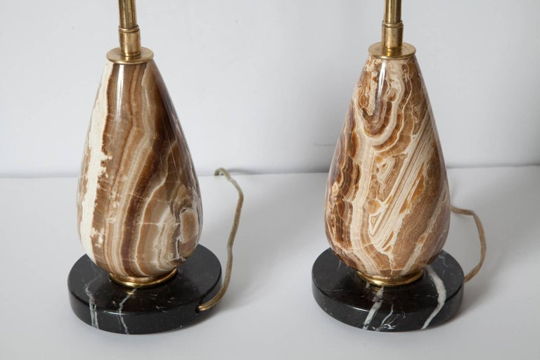 Brass Pair of Diminutive Onyx Table Lamps, circa 1950 For Sale