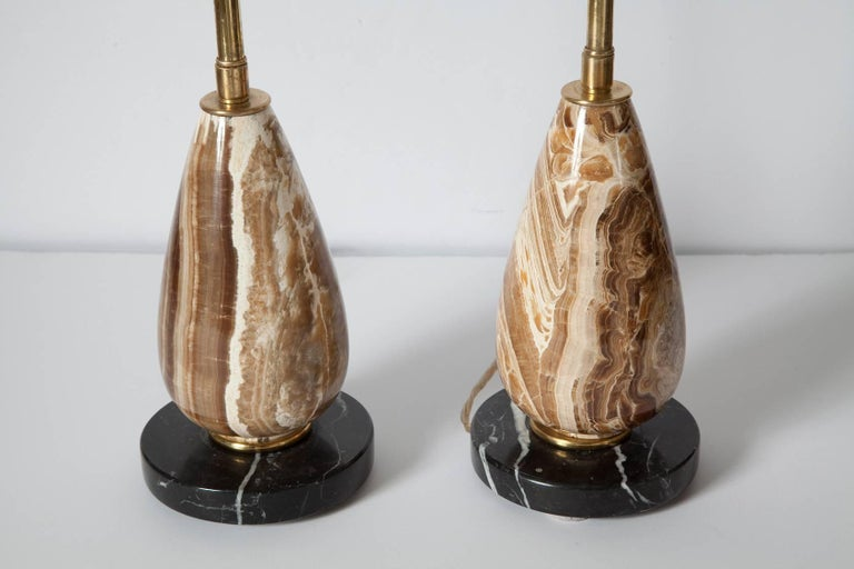 Mid-20th Century Pair of Diminutive Onyx Table Lamps, circa 1950 For Sale