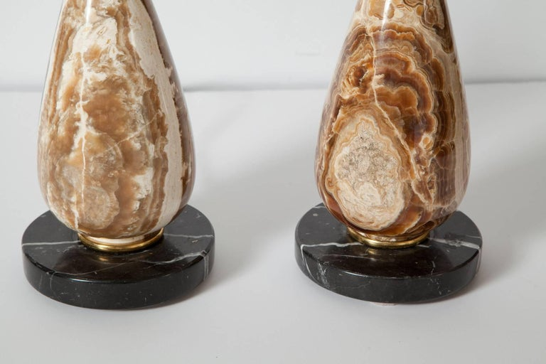 Polished Pair of Diminutive Onyx Table Lamps, circa 1950 For Sale