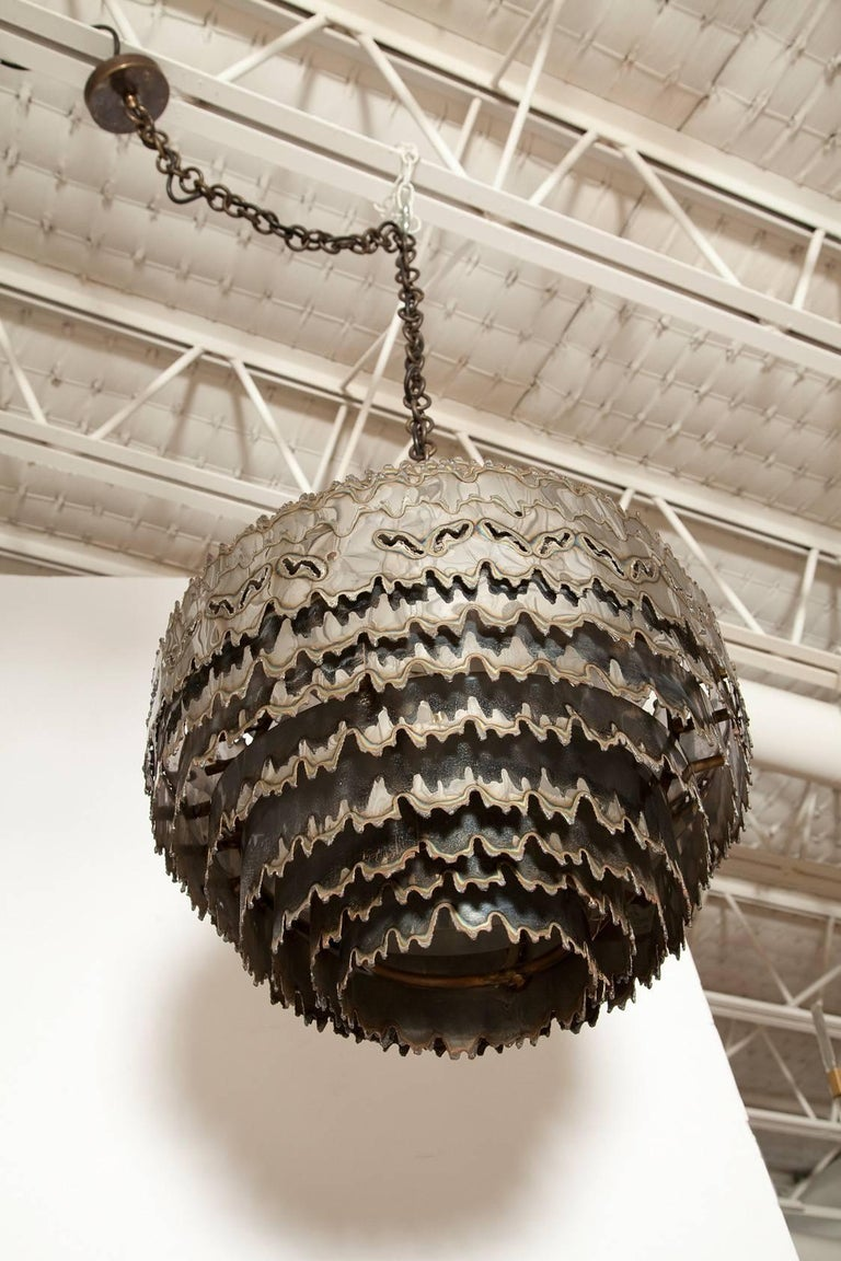 Late 20th Century Large Torch Cut Chrome Brutalist Orb Pendant by Tom Greene for Feldman Lighting For Sale