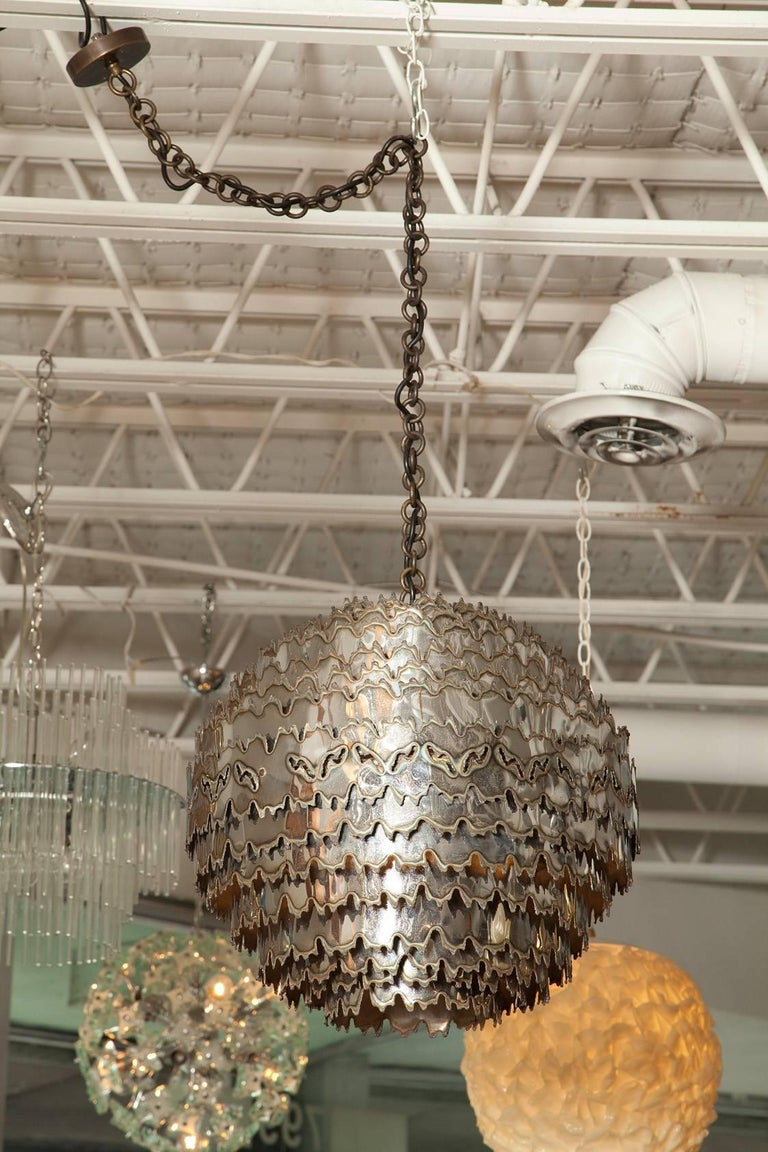 Hand-Crafted Large Torch Cut Chrome Brutalist Orb Pendant by Tom Greene for Feldman Lighting For Sale