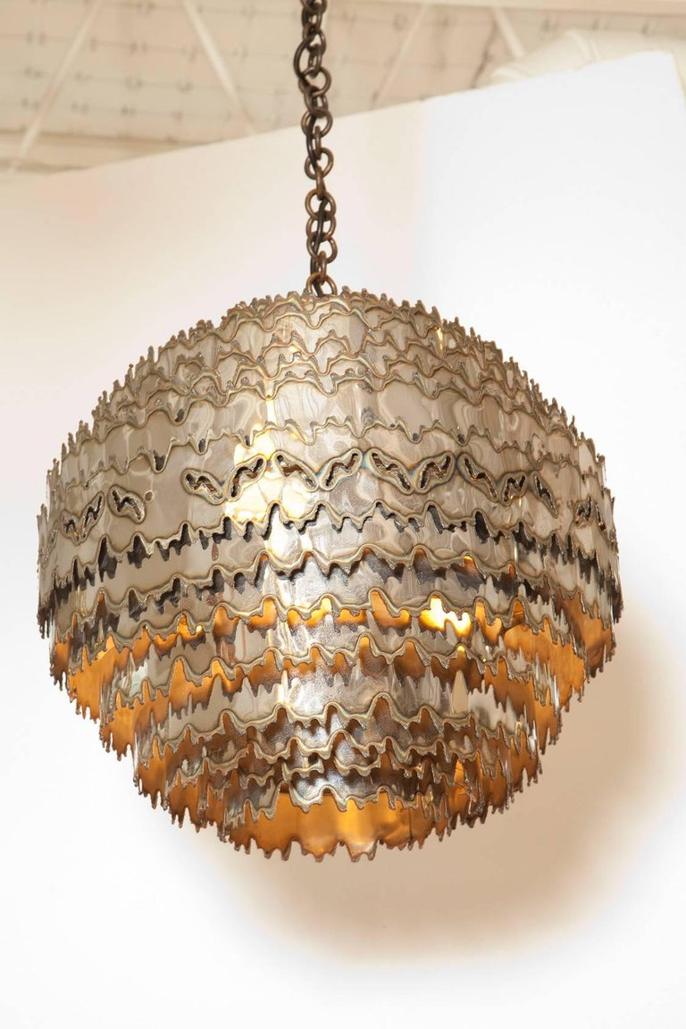 American Large Torch Cut Chrome Brutalist Orb Pendant by Tom Greene for Feldman Lighting For Sale