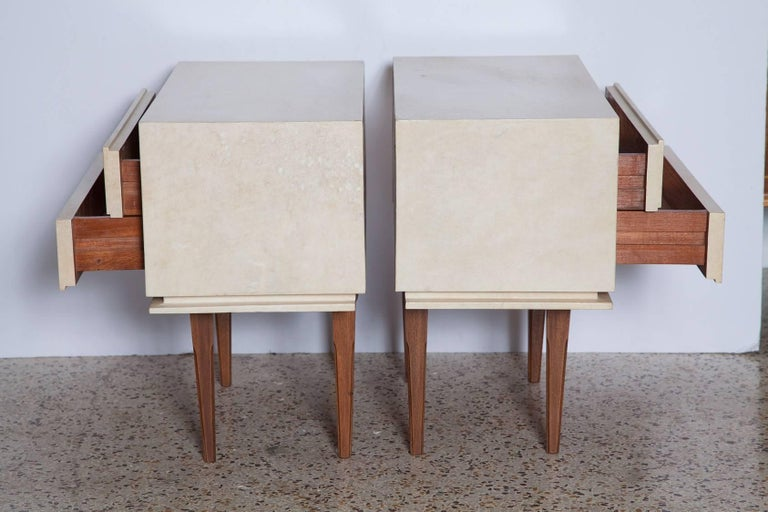 Mid-Century Modern Pair of French Parchment Nightstands, circa 1960 For Sale