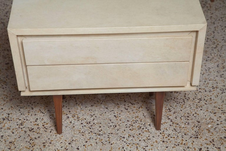 Mid-20th Century Pair of French Parchment Nightstands, circa 1960 For Sale