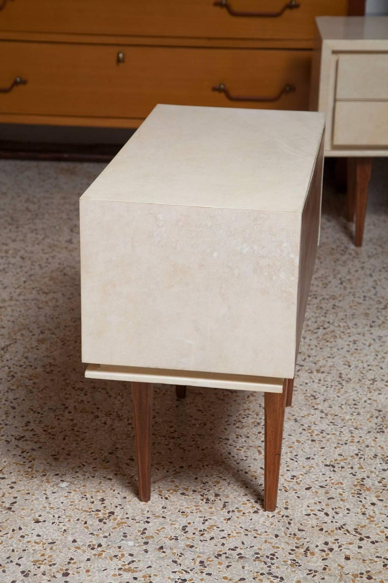 Pair of French Parchment Nightstands, circa 1960 For Sale 1