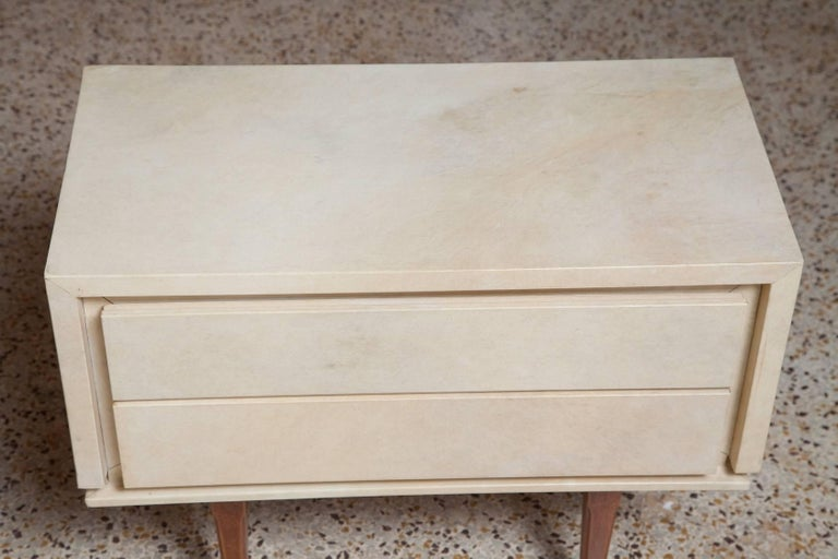 Pair of French Parchment Nightstands, circa 1960 For Sale 2