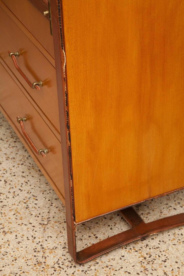 Large Cherrywood and Leather Cabinet by Jacques Adnet, circa 1950 For Sale 8