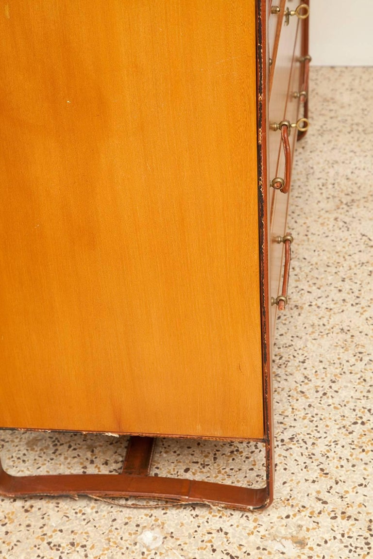 Large Cherrywood and Leather Cabinet by Jacques Adnet, circa 1950 For Sale 7