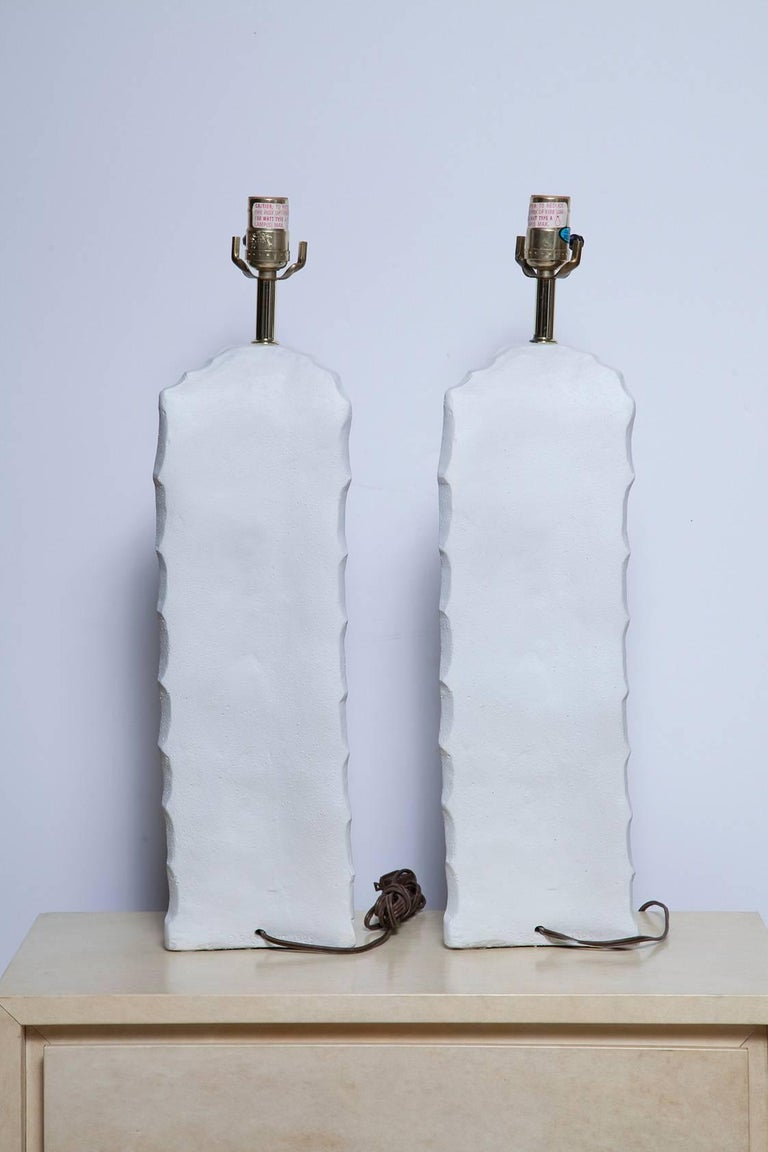 American Pair of 1970s Cactus Form Plaster Lamps For Sale