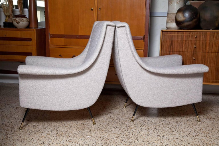 Mid-Century Modern Pair of Fully Restored 1950s Italian Lounge Chairs in Luxe Alpaca Blend Boucle For Sale