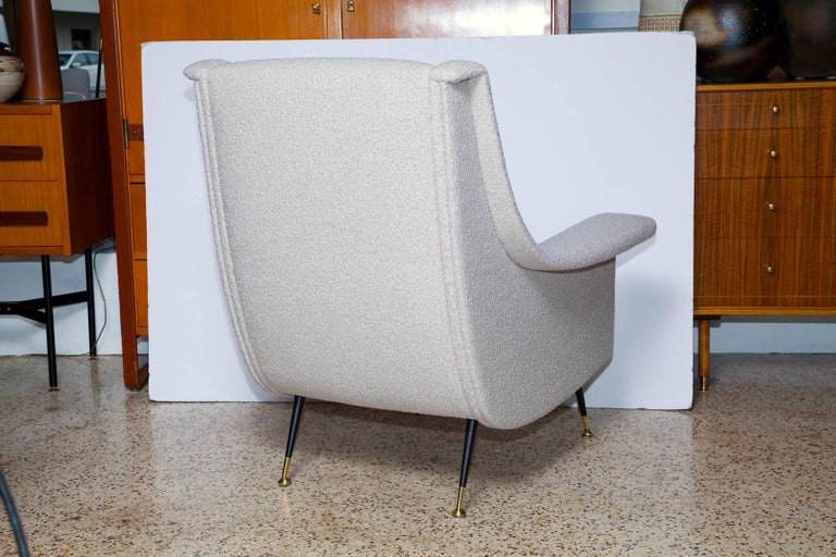 Painted Pair of Fully Restored 1950s Italian Lounge Chairs in Luxe Alpaca Blend Boucle For Sale