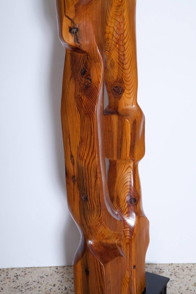 Large Abstract 1960s Pine Floor Sculpture, Signed Vancho For Sale 4