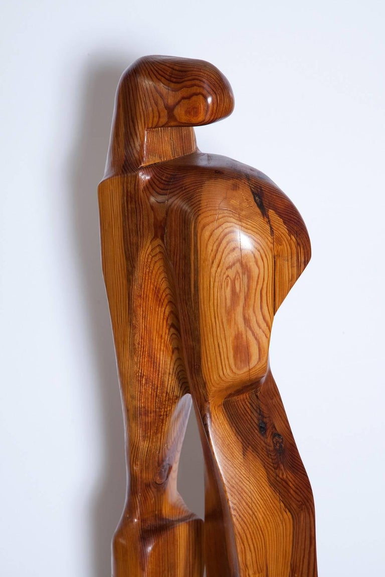 American Large Abstract 1960s Pine Floor Sculpture, Signed Vancho For Sale