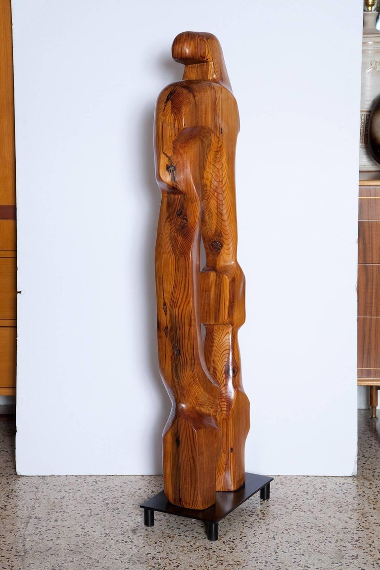 Large Abstract 1960s Pine Floor Sculpture, Signed Vancho For Sale 2