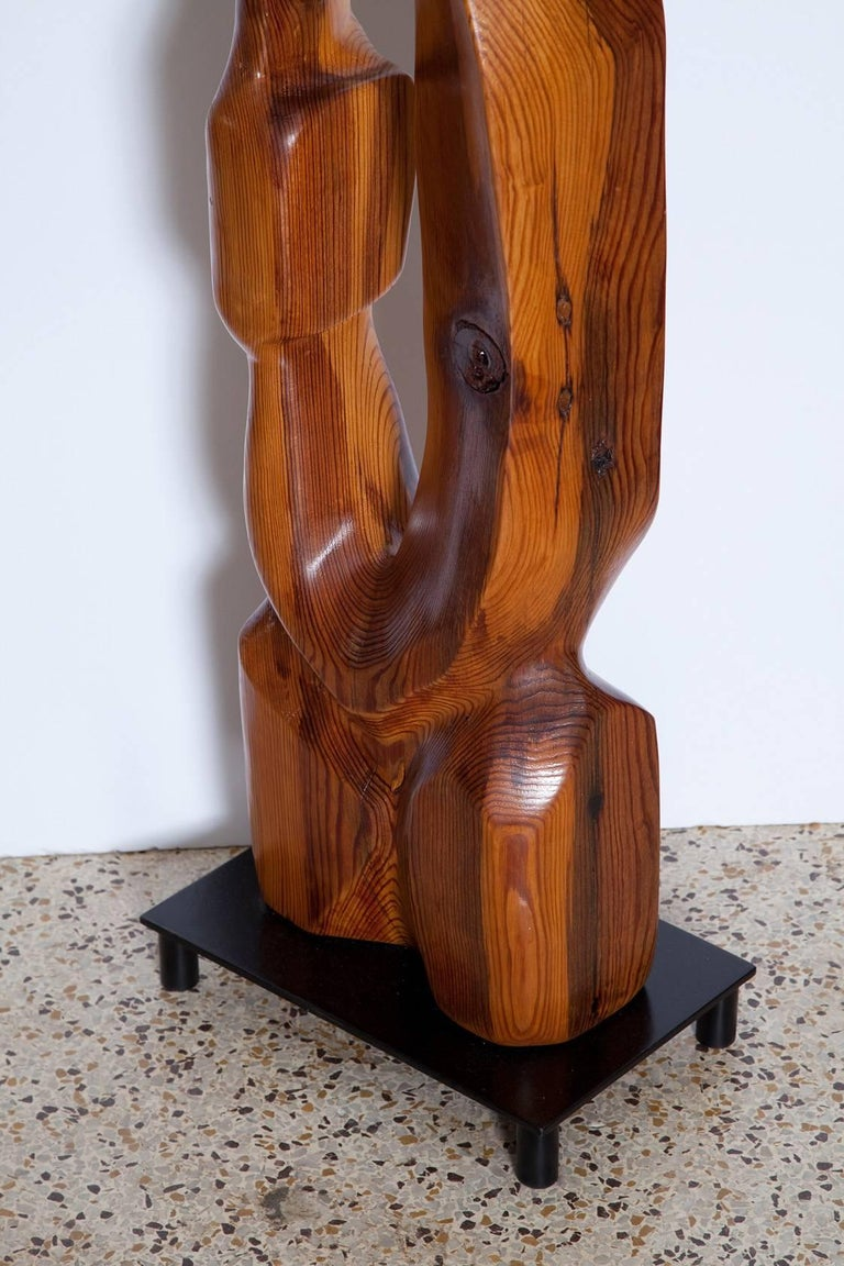 Mid-20th Century Large Abstract 1960s Pine Floor Sculpture, Signed Vancho For Sale