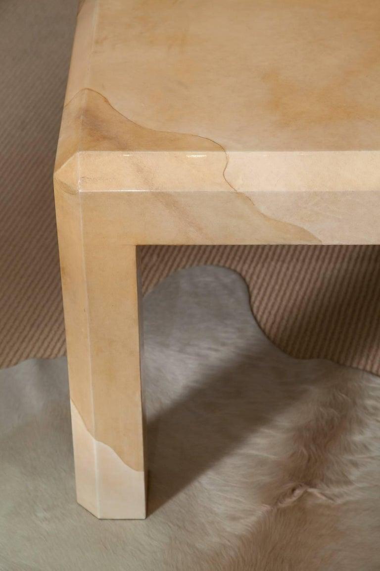 Massive Karl Springer Tri-Color Goatskin Coffee Table For Sale 1