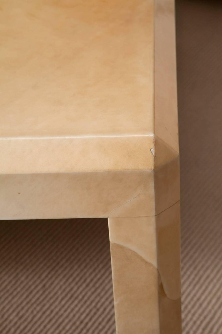 Massive Karl Springer Tri-Color Goatskin Coffee Table For Sale 3