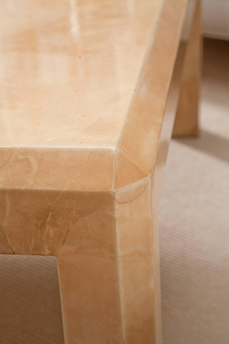Massive Karl Springer Tri-Color Goatskin Coffee Table For Sale 4