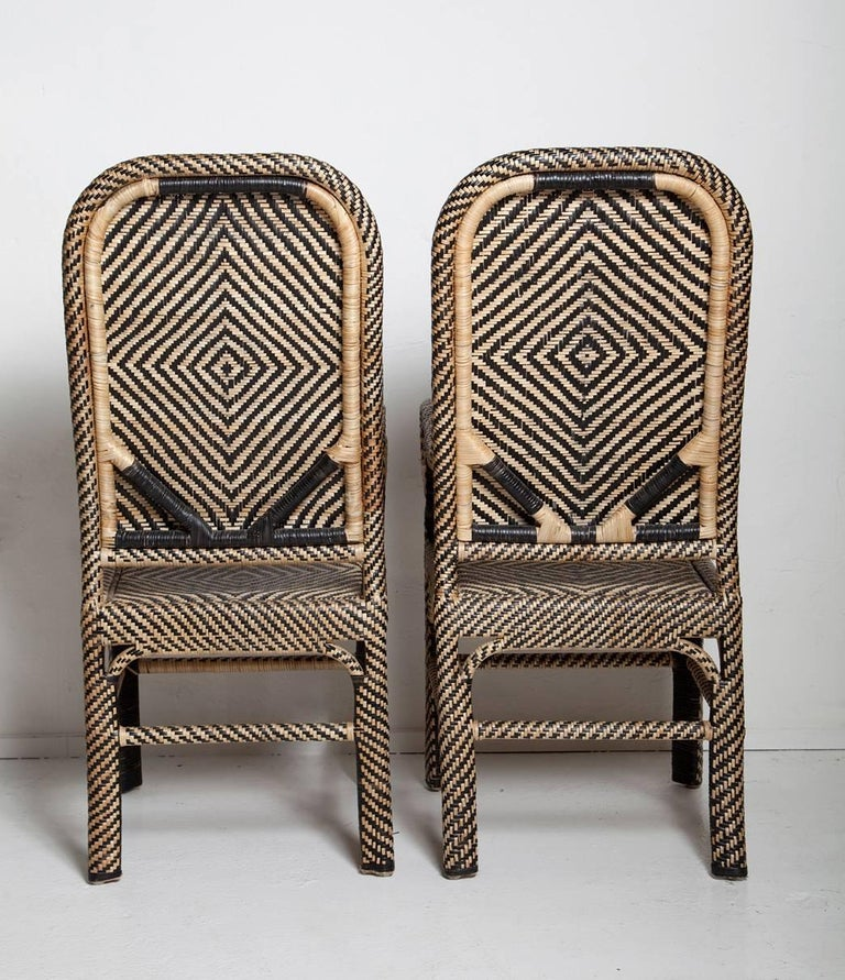 Philippine Pair of Woven Rattan Armchairs For Sale