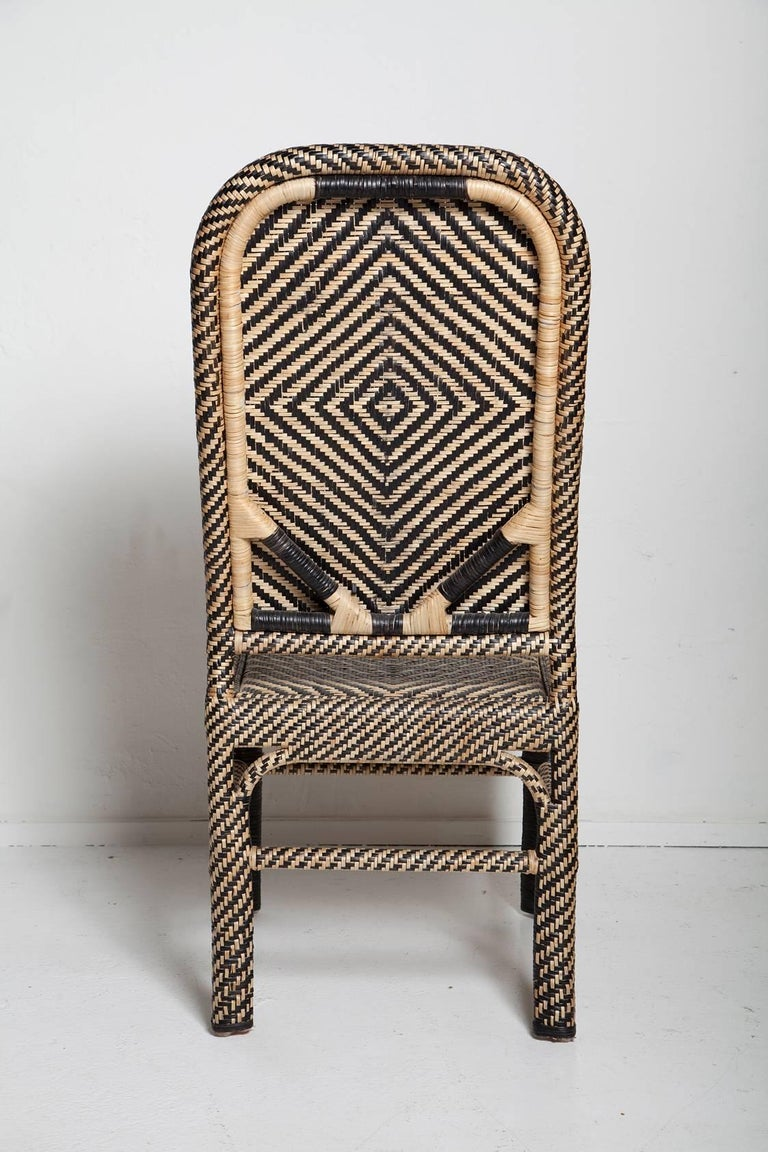 Hand-Woven Pair of Woven Rattan Armchairs For Sale